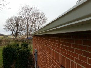 new metal roof and gutters on church in muncie installed by clemens homes solutions