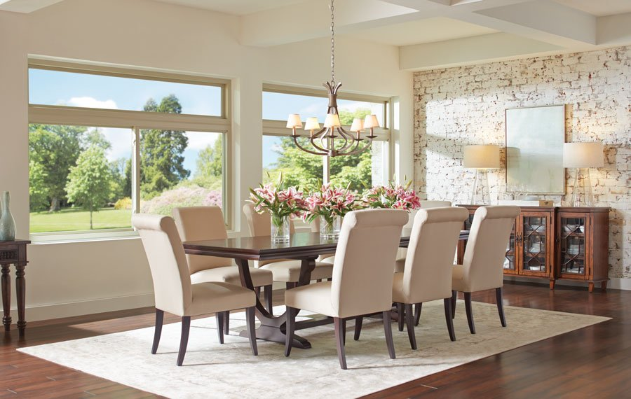 large windows installed in a modern dining room by clemens home solutions