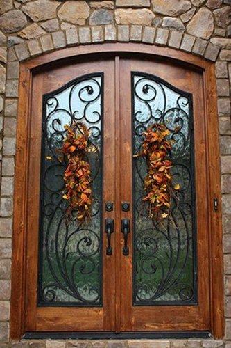 brown door with a custom designed