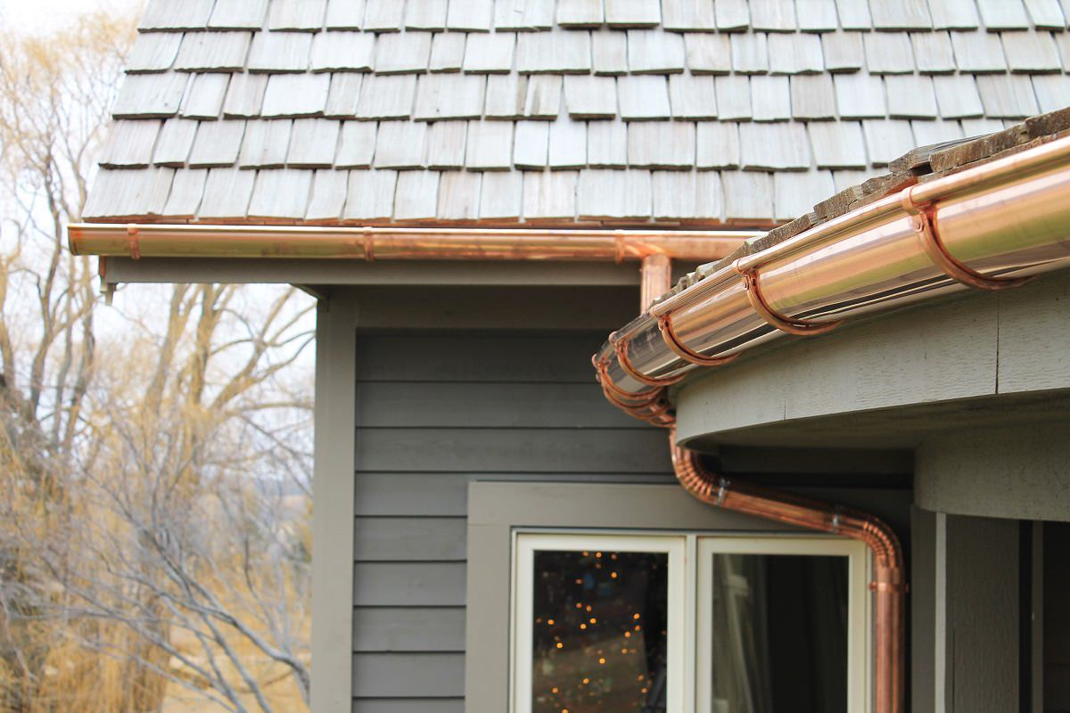 View Larger Image Copper Gutters On Home