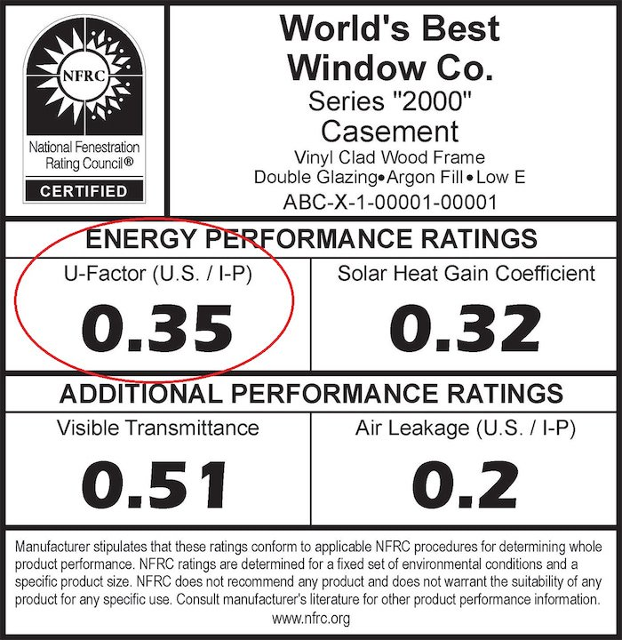 Nfrc Window Energy Efficiency Sticker U Factor