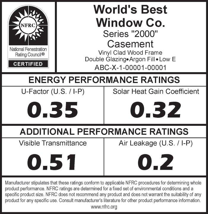 Nfrc Window Energy Efficiency Sticker